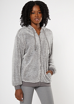 Ice Gray Zip Up Sherpa Hoodie