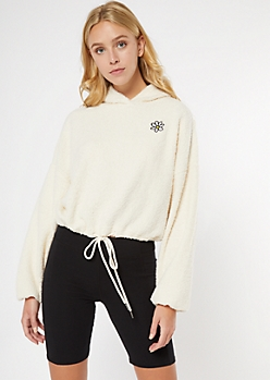 Ivory Daisy Embroidered Sherpa Hoodie