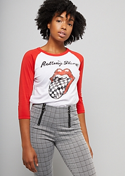 White Colorblock Three Quarter Sleeve Checkered Rolling Stones Graphic Tee