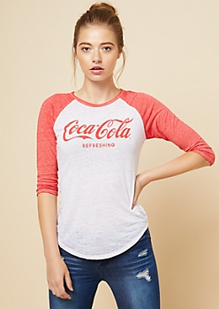 Red Coca Cola Burnout Raglan Sleeve Tee