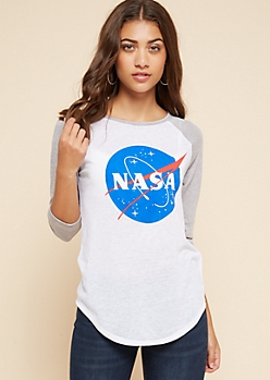 Gray NASA Burnout Raglan Sleeve Tee