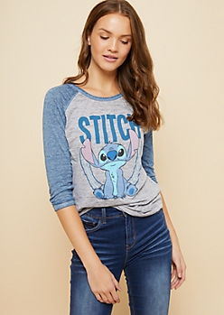Blue Stitch Burnout Raglan Sleeve Tee
