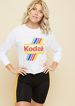 White Raw Edge Kodak Long Sleeve Skimmer Tee