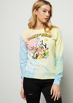 Rainbow Pastel Tie Dye Looney Tunes Graphic Tee