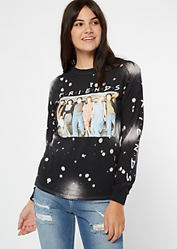 Black Bleached Friends Long Sleeve Graphic Tee