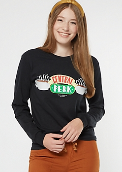 Black Central Perk Long Sleeve Graphic Tee