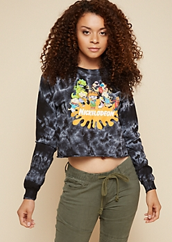 Black Tie Dye Nickelodeon Long Sleeve Skimmer Tee