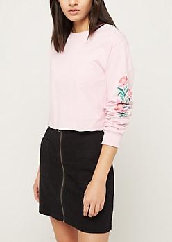 Pink Floral Print Long Sleeve Crop Top