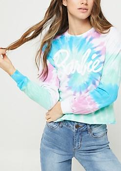 Barbie Tie Dye Long Sleeve Crop Top