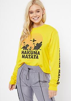 Mustard Hakuna Matata Raw Cut Graphic Tee