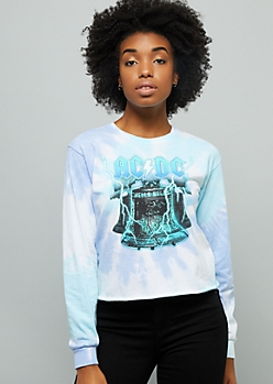 Black Tie Dye Ac Dc Emblem Oversized Graphic Tee by Rue21