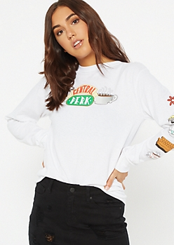 White Central Perk Long Sleeve Graphic Tee