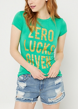Green Zero Lucks Given Glitter Tee