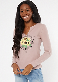 Pink Celestial Sunflower Print Notched Thermal Top