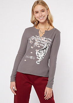Gray Good Vibes Tiger Graphic Long Sleeve Tee