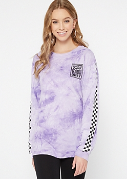 Purple Tie Dye Good Vibes Mood Graphic Tee