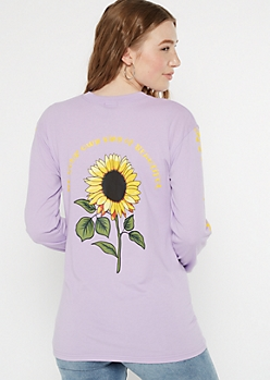 Lavender Be Beautiful Sunflower Graphic Tee
