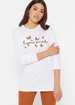 White Antisocial Butterfly Long Sleeve Graphic Tee
