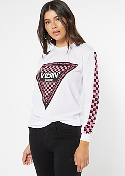 White Checkered Print Good Vibes Long Sleeve Graphic Tee