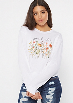 White Good Vibes Wildflower Graphic Tee