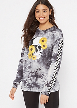 Black Tie Dye Skull Sunflower Graphic Tee