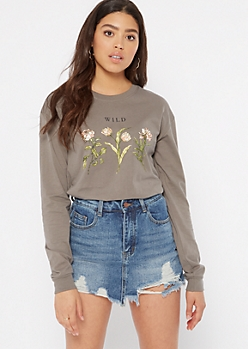Gray Wildflower Long Sleeve Graphic Tee