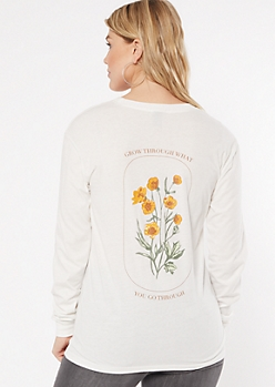 Ivory Flower Grow Through Graphic Tee