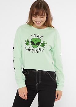 Green Alien Stay Weird Long Sleeve Graphic Tee