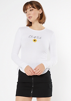 White Sunflower Ruched Side Ribbed Tee
