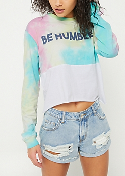 Tie Dye Be Humble Long Sleeve Crop Top