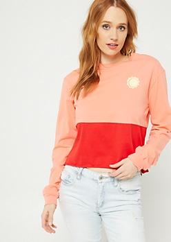 Coral Colorblock Dreamer Long Sleeve Crop Top