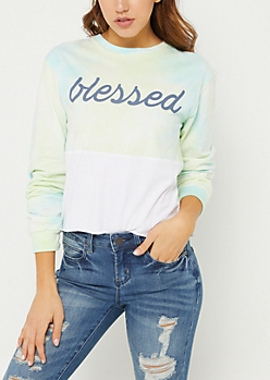 Tie Dye Blessed Long Sleeve Crop Top