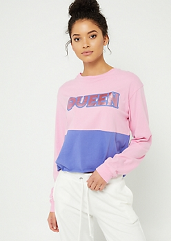 Pink Queen Long Sleeve Crop Top