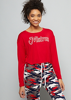Red Mistress Long Sleeve Graphic Crop Top