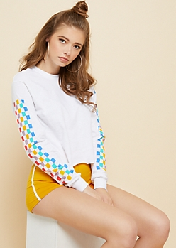 White Rainbow Checkered Sleeve Skimmer Tee