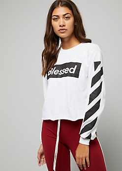 White Side Striped Blessed Skimmer Graphic Tee