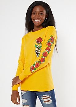 Yellow Skeletal Hand Rose Long Sleeve Graphic Tee