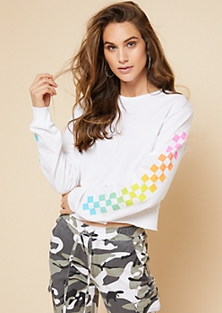 White Rainbow Striped Checkered Print Skimmer Graphic Tee