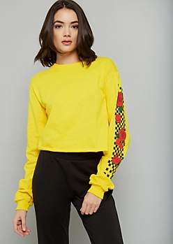 Yellow Checkered Print Rose Side Striped Graphic Skimmer Tee