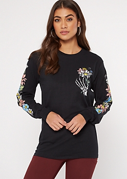 Black Skeleton Hand Flower Graphic Tee