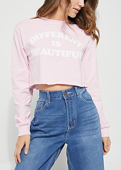 Long Sleeve Different Is Beautiful Crop Top