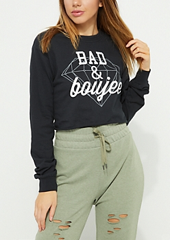 Black Bad and Boujee Long Sleeve Crop Top