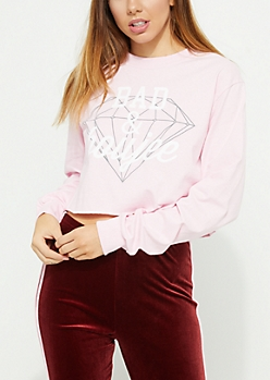 Pink Bad and Boujee Long Sleeve Crop Top