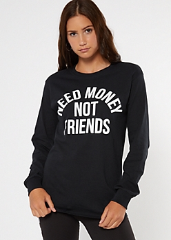 Friends Not Money Black Long Sleeve Graphic Tee