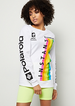 White Polaroid Rainbow Side Script Graphic Tee