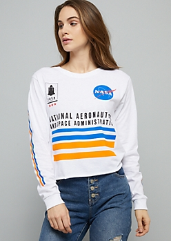 White Striped NASA Long Sleeve Skimmer Tee