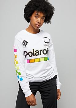 White Rainbow Polaroid Checkered Print Graphic Tee