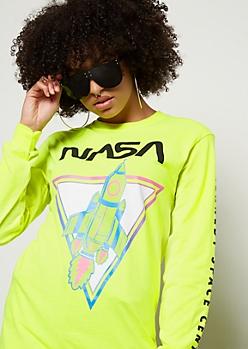 Neon Green NASA Side Script Oversized Graphic Tee
