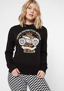 Black Motorcycle Long Sleeve Graphic Tee