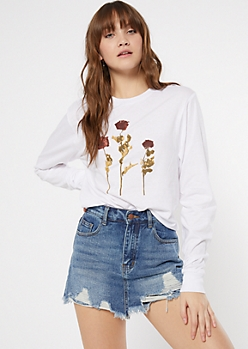White Aged Roses Graphic Tee